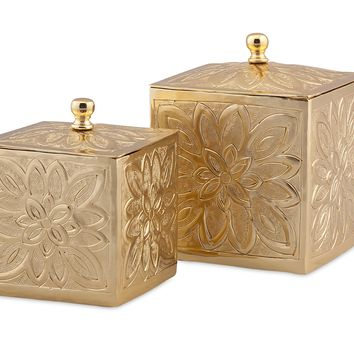 Belle Gold Embossed Boxes - Set of 2