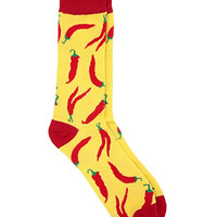 Chili Pepper Print Socks Yellow/Red One
