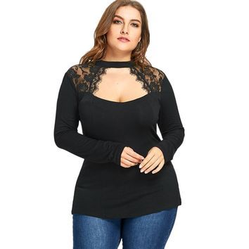 Plus Size Lace Insert Keyhole Top