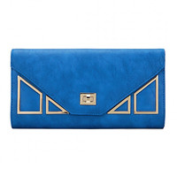 Geo Metal Leather-look Clutch Bag in Blue with Shoulder Strap