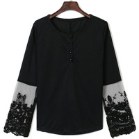 Black Lace Panel Button Front Long Sleeve Blouse