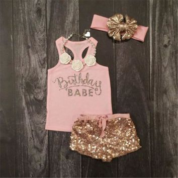 Newborn Baby Girls Clothes summer round neck sleeveless letter print pullover Top Sequin Shorts Headband 3pc cotton casual set