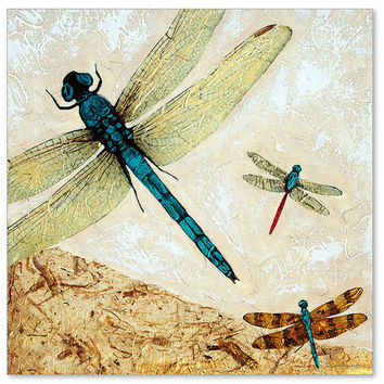 Zen Flight Art Print from Painting Dragon Fly Dragonfly Dragonflies Asian Spa CANVAS Ready To Hang Large Artwork FREE Shipping S/H