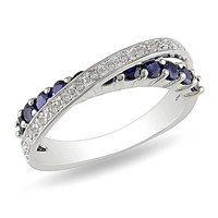 Sterling Silver Accent Diamond and Created Sapphire Ring (0.09 Cttw, G-H Color, I3 Clarity)