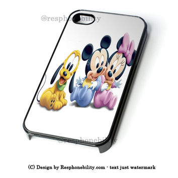 Disney Mickey Mouse, Pluto And Minnie Mouse As Babies iPhone 4 4S 5 5S 5C 6 6 Plus Case , iPod 4 5 Case , Samsung Galaxy S3 S4 S5 Note 3 Note 4 Case , and HTC One X M7 M8 Case