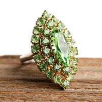 Vintage Green Rhinestone Ring - Statement Size 6 Adjustable Marquise Cocktail Jewelry / Lime
