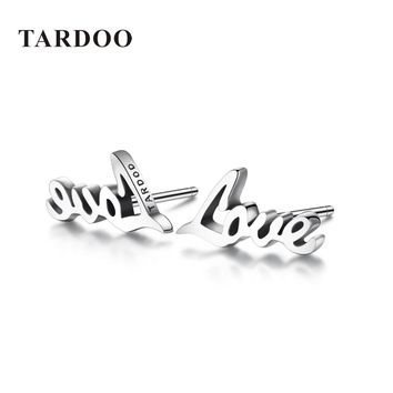 Tardoo Genuine 925 Sterling Silver Stud Earrings for Women Love Typeface Inspiration Delicate Stud Earrings Brand Fine Jewelry