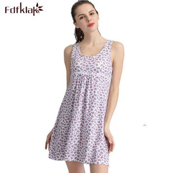Sexy Nightdress Women's Lingerie Summer Sleeveless Print Sleepwear For Girl Cotton Night Gown Women Elegant Nightgowns M-XXLQ288