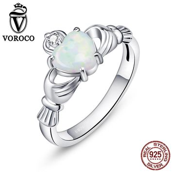 VOROCO Genuine 925 Sterling Silver Hand Protect Heart White Opal Shape Rings for Women Wedding Gift Fine Jewelry VSR074
