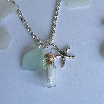Message in a bottle necklace Personalized message. Sea glass jewelry.
