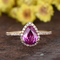 6x8mm Pear cut natural pink sapphire ring,wedding promise ring,solid 14k yellow gold diamond ring,aniversary band,diamond Halo bridal ring