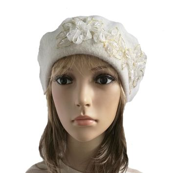 White Felted Wool Beret with Gold Applique