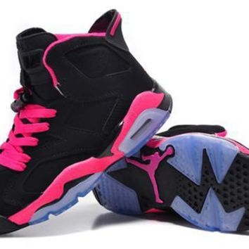Hot Nike Air Jordan 6 Retro Women Shoes Black Pink Purple