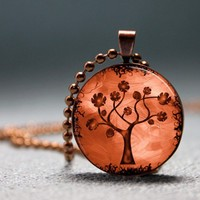 End of Summer SALE Copper Rose Tree Resin Pendant Picture pendant by artyscapes on Sense of Fashion