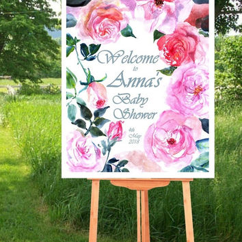 BABY SHOWER Welcome Sign, Pink fuchsia watercolor roses, Printable signs, floral Signage, gold silver decors, girl invite, custom personal
