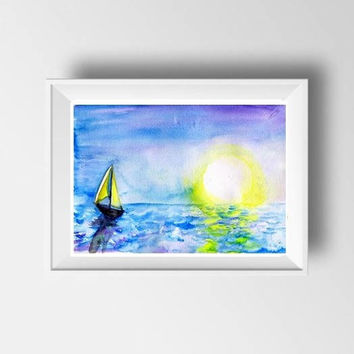 Morning sail watercolor painting large tropical beach art print decor print seashore wall art decor sailor boat sun rise sky sea ocean wave