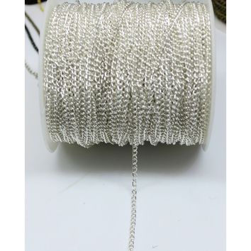 Silver Cable Open Link Iron Metal Slender Chain Findings For Jewelry Making Thick 0.7mm Lead & Nickel Free (Size: 5m, Color: Sil