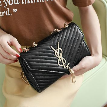 Women All-match Fashion Rhombus Y Letter Metal Chain Single Shoulder Messenger Bag Small Square Bag Handbag