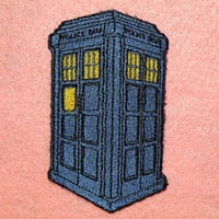 Blue Police Box Iron on Patch