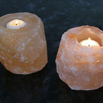 Manhattan Comfort Natural Crystal Himalayan Salt Candle Holder - Set of 2
