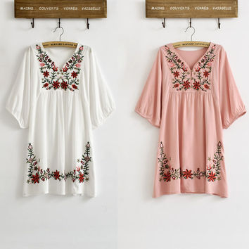 Women Mexican Ethnic Floral Embroidered Blouse