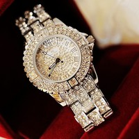 Bling Bling Handmade Silver Diamond-studded Watch
