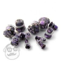 Single Flare Purple Abstract Agate Stone Plugs (8 Gauge - 00 Gauge) | UrbanBodyJewelry.com