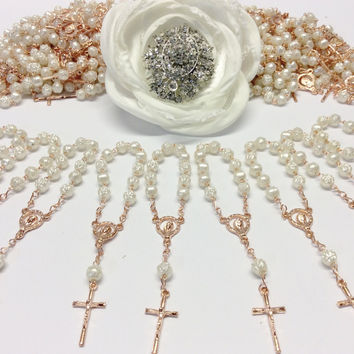 80 pcs Pearl First communion favors Recuerditos Bautizo 80pz/ Mini Pearl Rosary Baptism Favors 80 pcs