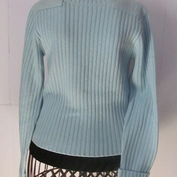 Merino Lambs Wool LL Bean Sweater Cable Knit Sweater Womens sz XS Light Blue Sweater Petite Clothing