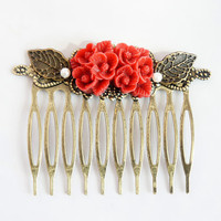 Red Flower Shabby Chic Collage Comb - OOAK Victorian Style Shabby Chic Flower Collage Hair Comb - VCC005