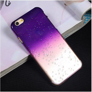 "Purple Ultra-thin Creatively 3D Rain Drop Water Raindrop Hard Back Cover Semi-Transparent Colorful Phone Case Shell Cover for iPhone 6/6s 4.7"" inch"
