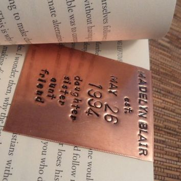 Large hand stamped copper gift bookmarks stamped on both sides