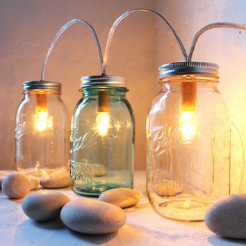 Winter Cabin Lights -Mason Jar Lighting Standing Banner Lights Fixture - BootsNGus Lamp Design - Blue and Clear Glass Upcycled Wedding