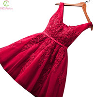 SSYFashion Sexy Short Cocktail Dresses Bridal Banquet Wine Red Lace Backless Party Formal Dress Homecoming Dress Robe De Soiree