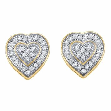 10kt Yellow Gold Women's Round Diamond Heart Cluster Earrings 1-6 Cttw - FREE Shipping (US/CAN)