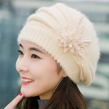 Lovely Winter Crochet hats For Women Fashion Cap Flowers Knitted Hat Beanies Female Hat Chapeu Feminino gorras Adults Bonnet