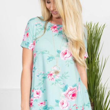 Mint Pink Rose Top