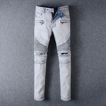 Ripped Holes Slim Jeans [748306530397]