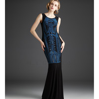 Mignon 2013 Fall Dresses - Black & Teal Embellished Gown