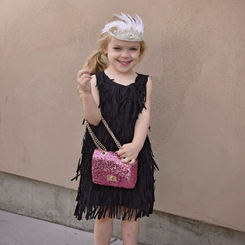 "City Glam ""Kinsley"" Black Fringe Dress"