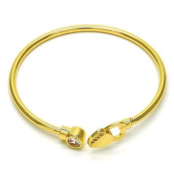 Gold Layered 07.233.0009 Individual Bangle, Heart Design, with White Cubic Zirconia, Polished Finish, Golden Tone (03 MM Thickness, One size fits all)