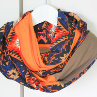 bohemian geometric tribal print - eternity boho scarf - one of a kind