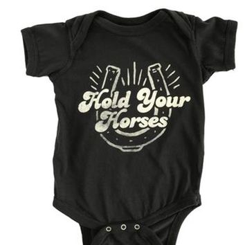 FEATHER 4 ARROW | Hold Your Horses Onesuit - Washed Black