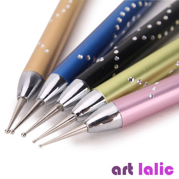 Luxury 5Pcs 2-Way Nail Art Dotting Pens Aluminum Marbleizing Painting Dot Tool