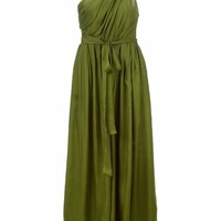 MSGM long one shoulder evening gown moss