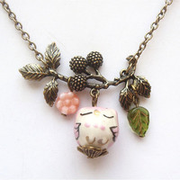 Antiqued Brass Branch Flower  Pink Porcelain Owl Necklace