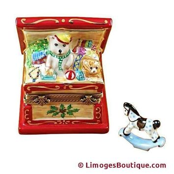 CHRISTMAS TOY CHEST W/ ROCKING HORSE - Merry LIMOGES BOX