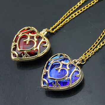 Sunhsine The Legend of Zelda blue red Heart Container necklace hollow out 4cm pendant Necklace lovers