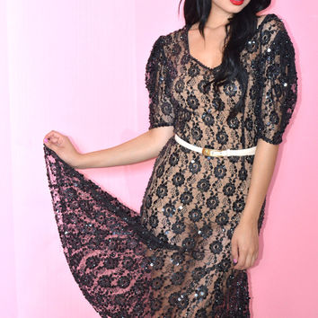 Lace & Sequins Sheer Dress