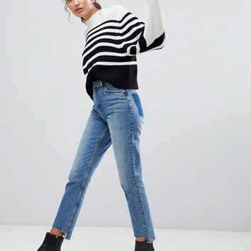 Monki Stripe Ribbed Knitted Sweater at asos.com